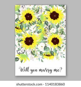 Bright lemon yellow sunflower wedding invitation country stile vector template