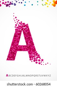 Bright letter A from the alphabet with bubble effect (eps10)