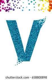 Bright letter V with bubble effect