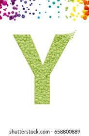 Bright letter Y with bubble effect