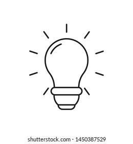 Bright light bulb vector icon