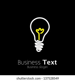Bright lightbulb icon symbol on black background- vector graphic. This logo template represents idea generation, innovative mind, genius thinking, creative thought process, problem solving, etc