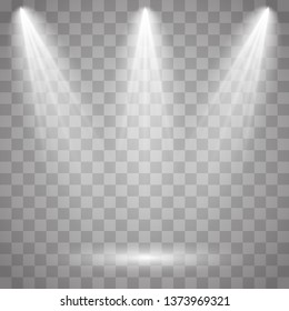 Bright lighting with spotlights.Scene illumination effects on checkered transparent background. Vector illustration EPS10.