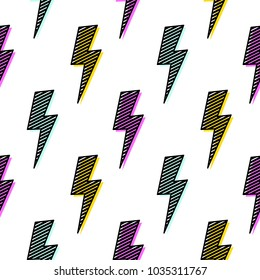 Bright lightning bolt seamless pattern fun design.