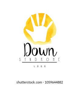 Bright logo with child hand for medical Down Syndrome center. Vector for event invitation
