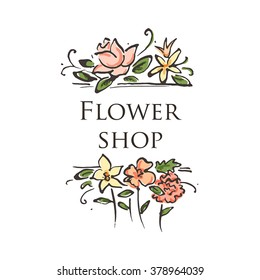 Bright logo for a flower shop.