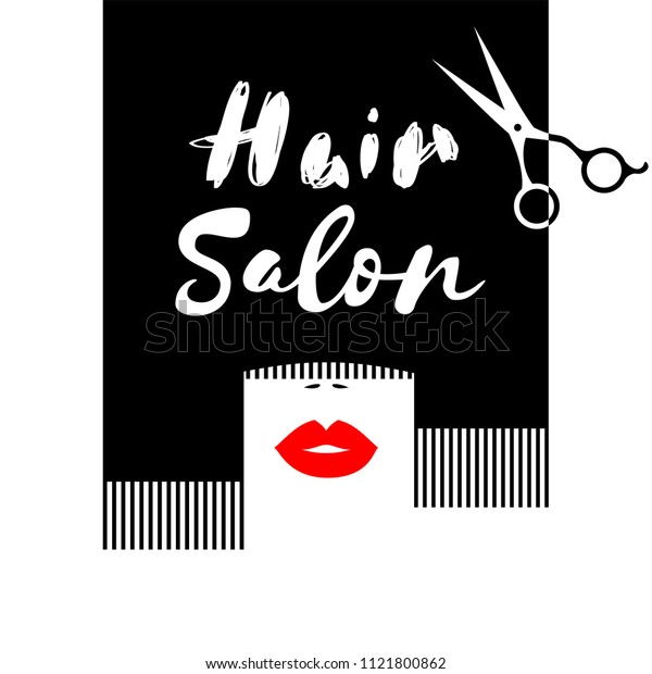 Bright logo hair salon, abstract hairs, hairdresser studio, red lips, scissors, combing hair. Vector illustration.