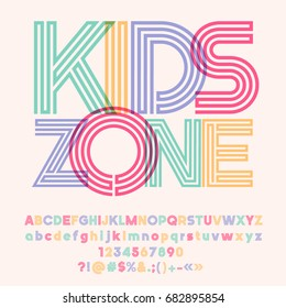 Bright logo with text Kids Zone. Vector set of colorful Alphabet letters, numbers and symbols. Graphic style Font.