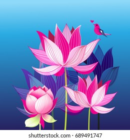 Bright lovely postcard with a love bird on lotuses