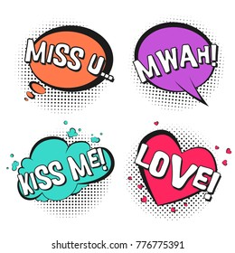 Bright lovely retro comic speech bubbles set with colorful Kiss me, Love, Mwah, Miss u words. Black outline balloons with black halftone in pop art style for St. Valentines cards design, label