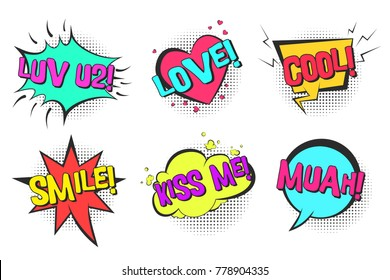 Bright lovely retro comic speech bubbles set with colorful Cool, Kiss me, Love, Muah, Smile words. Color balloons with black halftone shadow in pop art style for St. Valentines greeting cards design