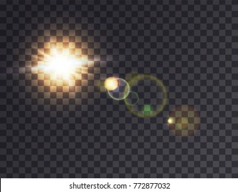 Bright luminous sun with light effect, sunshine with lens flare, realistic vector illustration on transparent background. Solar white flash with golden rays, design element
