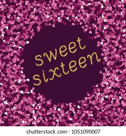 Bright magenta pink glitter texture whith glittering text sweet sixteen. Vector illustration