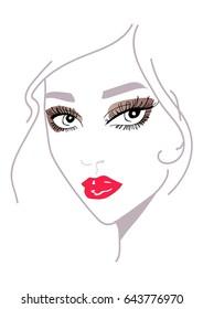 bright make-up, illustration of girl
