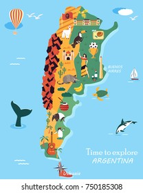 Bright map of Argentina with different landmarks, animals, symbols