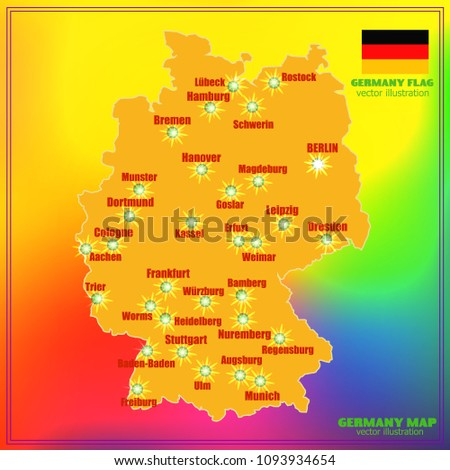 Map Of Germany With Cities.Bright Map Germany Cities Vector Illustration Stock Vector Royalty