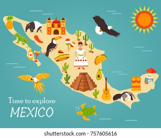 Bright map of Mexico with landmarks and symbols