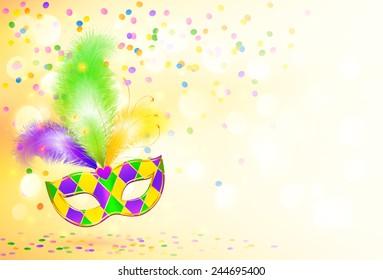 Bright Mardi Gras carnival mask vector poster background