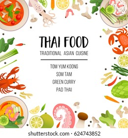 A bright menu template of traditional Asian cuisine. Seafood, vegetables and herbs, traditional Thai dishes