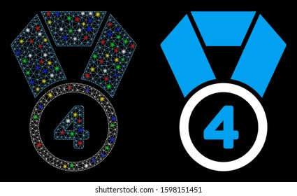 Bright mesh 4th place medal icon with lightspot effect. Abstract illuminated model of 4th place medal. Shiny wire carcass triangular mesh 4th place medal icon.