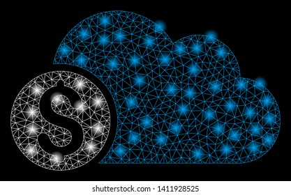 Bright mesh banking cloud with glare effect. Abstract illuminated model of banking cloud icon. Shiny wire carcass polygonal mesh banking cloud abstraction in vector format on a black background.