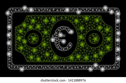 Bright mesh banknote with glare effect. Abstract illuminated model of banknote icon. Shiny wire frame triangular mesh banknote abstraction in vector format on a black background.