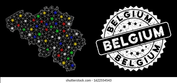 Bright mesh Belgium map with lightspot effect, and seal stamp. Wire carcass triangular Belgium map mesh in vector format on a black background. White round seal stamp with distress surface.