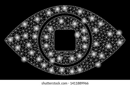 Bright mesh bionic eye lens with glare effect. Abstract illuminated model of bionic eye lens icon.