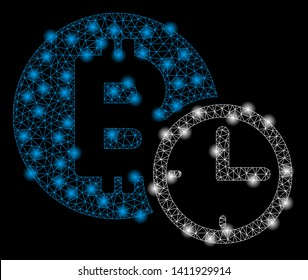 Bright mesh Bitcoin credit clock with glare effect. Abstract illuminated model of Bitcoin credit clock icon.