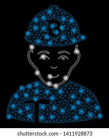 Bright mesh Bitcoin miner with glare effect. Abstract illuminated model of Bitcoin miner icon. Shiny wire carcass triangular mesh Bitcoin miner abstraction in vector format on a black background.