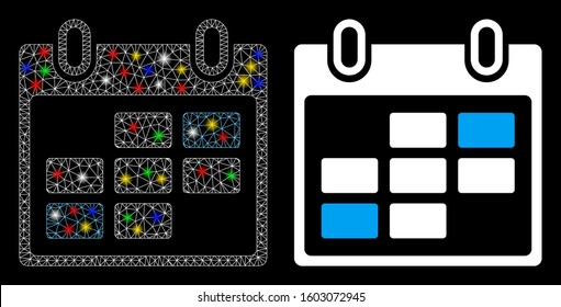 Bright mesh calendar days icon with glare effect. Abstract illuminated model of calendar days. Shiny wire carcass triangular mesh calendar days icon. Vector abstraction on a black background.