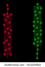 Bright mesh candlesticks with glare effect. Abstract illuminated model of candlesticks icon. Shiny wire frame triangular mesh candlesticks abstraction in vector format on a black background.