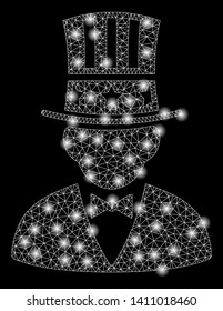 Bright mesh capitalist with glare effect. Abstract illuminated model of capitalist icon. Shiny wire frame polygonal network capitalist abstraction in vector format on a black background.