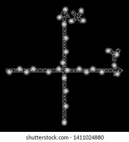 Bright mesh cartesian axes with lightspot effect. Abstract illuminated model of cartesian axes icon.
