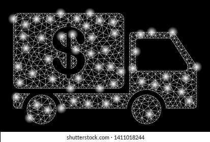 Bright mesh cash delivery with lightspot effect. Abstract illuminated model of cash delivery icon. Shiny wire frame polygonal mesh cash delivery abstraction in vector format on a black background.