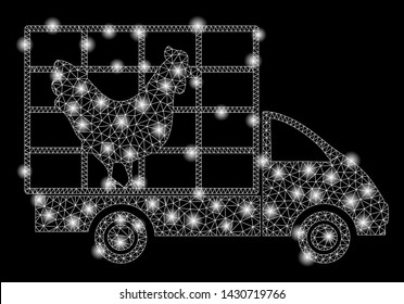 Bright mesh chicken wagon with glare effect. Abstract illuminated model of chicken wagon icon. Shiny wire frame triangular mesh chicken wagon. Vector abstraction on a black background.