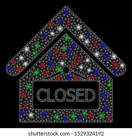 Bright mesh closed office with glare effect. White wire carcass polygonal mesh in vector format on a black background. Abstract 2d mesh designed with triangles, dots, colorful light spots.