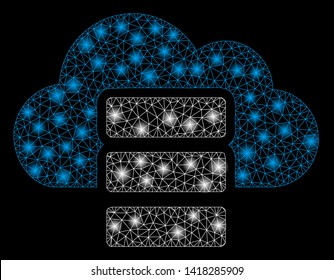 Bright mesh cloud database with glare effect. Abstract illuminated model of cloud database icon. Shiny wire frame triangular mesh cloud database abstraction in vector format on a black background.