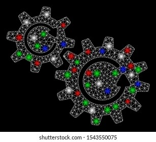 Bright mesh cogs rotation with glow effect. White wire carcass polygonal mesh in vector format on a black background. Abstract 2d mesh designed with polygonal grid, small circle, colored glare spots.