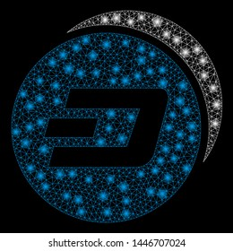 Bright mesh Dash coins with glow effect. Abstract illuminated model of Dash coins icon. Shiny wire carcass triangular mesh Dash coins abstraction in vector format on a black background.
