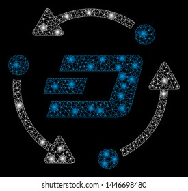 Bright mesh Dash turnover with glow effect. Abstract illuminated model of Dash turnover icon. Shiny wire carcass polygonal mesh Dash turnover abstraction in vector format on a black background.