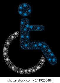 Bright mesh disabled person with glow effect. Abstract illuminated model of disabled person icon. Shiny wire frame triangular mesh disabled person. Vector abstraction on a black background.
