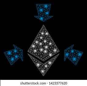 Bright mesh Ethereum collect arrows with glare effect. Abstract illuminated model of Ethereum collect arrows icon. Shiny wire carcass polygonal mesh Ethereum collect arrows.