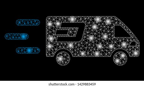 Bright mesh fast Dash delivery car with lightspot effect. Abstract illuminated model of fast Dash delivery car icon. Shiny wire carcass triangular mesh fast Dash delivery car.