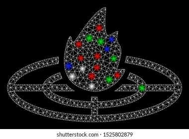 Bright mesh fired target with glare effect. White wire frame triangular network in vector format on a black background. Abstract 2d mesh created from triangular lines, dots, colored glare spots.