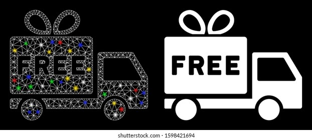 Bright mesh free shipment icon with glare effect. Abstract illuminated model of free shipment. Shiny wire frame triangular mesh free shipment icon. Vector abstraction on a black background.