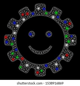 Bright mesh gear smile smiley with lightspot effect. White wire frame polygonal mesh in vector format on a black background. Abstract 2d mesh designed with polygonal grid, dots, colored flare spots.