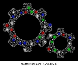 Bright mesh gears with lightspot effect. White wire carcass triangular mesh in vector format on a black background. Abstract 2d mesh designed with polygonal grid, points, colorful light spots.