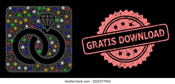 Bright mesh network jewelry wedding rings with bright dots, and Gratis Download dirty rosette stamp seal. Illuminated vector model created from jewelry wedding rings pictogram.