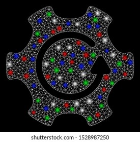 Bright mesh rotate gear with glow effect. White wire carcass triangular mesh in vector format on a black background. Abstract 2d mesh designed with polygonal grid, points, colorful light spots.